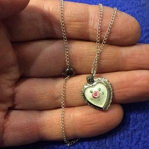 sacred heart slide locket- enamel rose